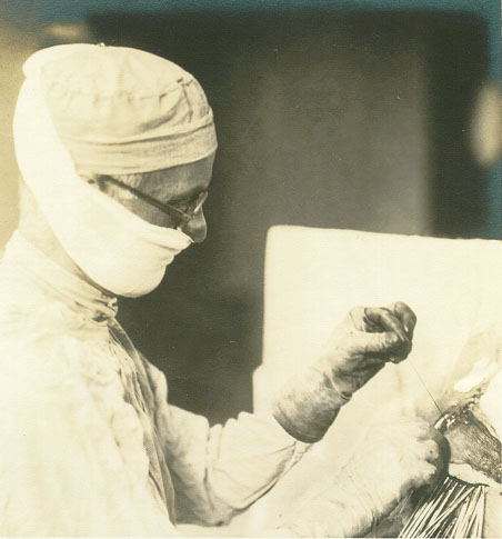 Harvey Cushing operating on a patient