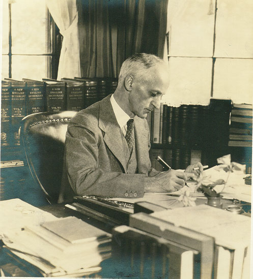 Harvey Cushing at work on a Sunday morning